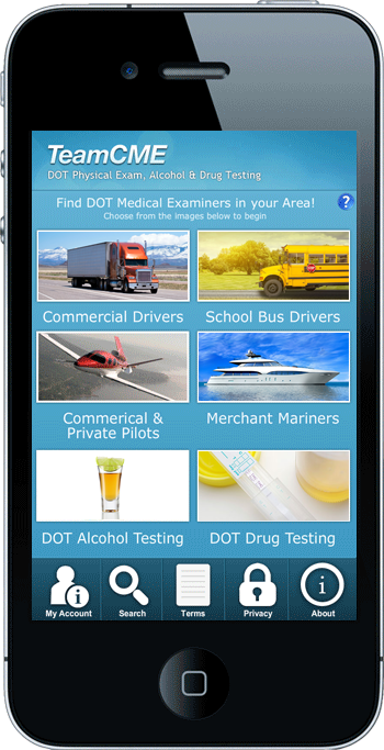 TeamCME mobile app on cell phone screen with info about DOT exam dates and locations.