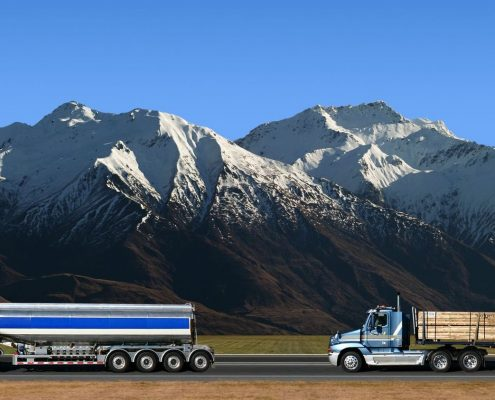 2 Commercial truck drivers after DOT exams with snow capped mountains